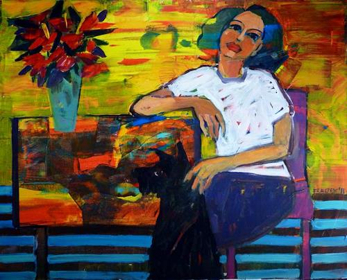 Bart Fraczek, with black dog, People: Women, Animals: Land, Neo-Expressionism, Expressionism