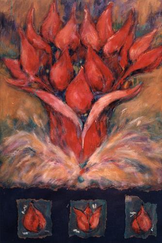 Mascha Düben, Rote Blumen, Nature: Miscellaneous, Plants: Flowers, Contemporary Art