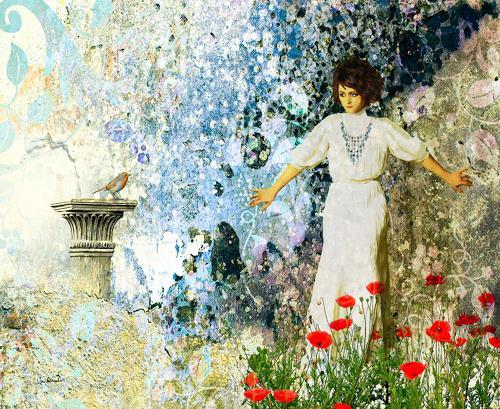 Van Renselar, In The Garden, Abstract art, Decorative Art, Romanticism, Expressionism