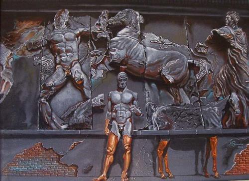 Ramaz Razmadze, Pergamon Bas-relief Illusions, Fantasy, Mythology, Post-Surrealism, Abstract Expressionism