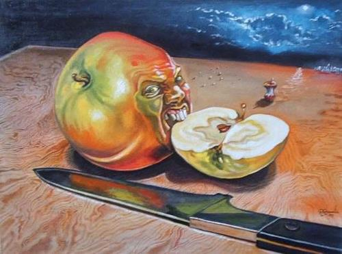 Ramaz Razmadze, Apple of Discord, Fantasy, Still life, Post-Surrealism, Abstract Expressionism