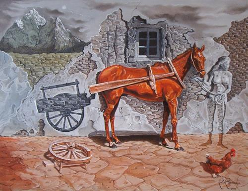 Ramaz Razmadze, Stone-work Cart Delusions, Fantasy, Animals: Land, Post-Surrealism