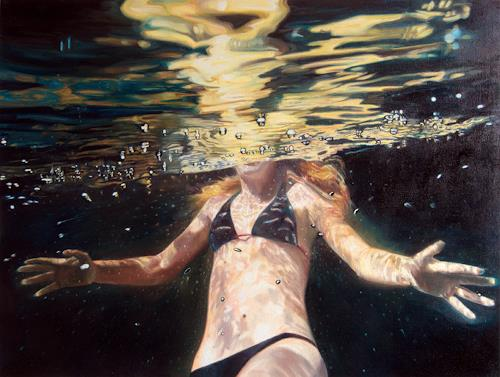Jennifer Walton, Dark Water Swim 11, People: Women, Nature: Water, Contemporary Art, Abstract Expressionism