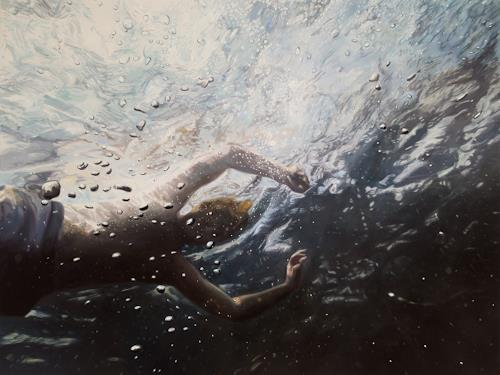 Jennifer Walton, Through a Glass Darkly, Nature: Water, Miscellaneous People, Realism, Abstract Expressionism