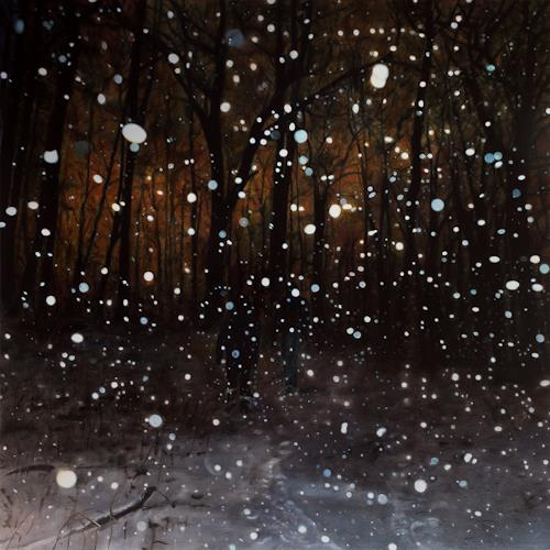 Jennifer Walton, A Walk in the Snow, Landscapes: Winter, Miscellaneous People, Realism, Expressionism
