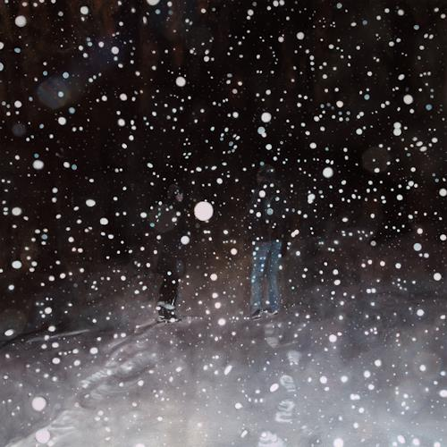 Jennifer Walton, Conversation on a Snowy Night, Landscapes: Winter, Outer space: Stars, Realism