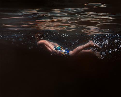 Jennifer Walton, Black Velvet, Nature: Water, People: Children, Contemporary Art, Expressionism