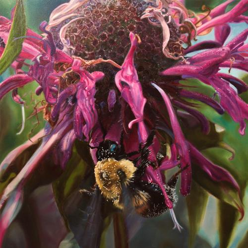 Jennifer Walton, Bumblebee, Plants: Flowers, Animals: Air, Contemporary Art, Expressionism