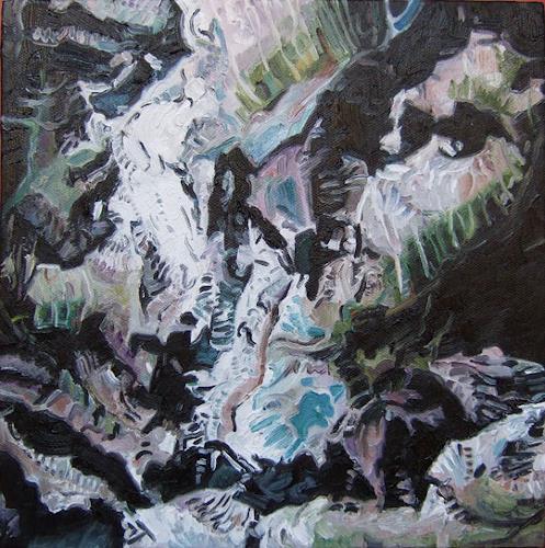 Jennifer Walton, Bow Range 1, Banff National Park, View from Google Earth, Landscapes: Mountains, Technology, Realism