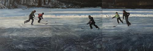 Jennifer Walton, Shinny 2, Landscapes: Winter, Sports, Realism, Abstract Expressionism