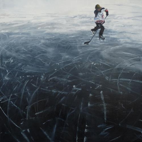 Jennifer Walton, Black Ice 1, Sports, Landscapes: Winter, Contemporary Art, Expressionism