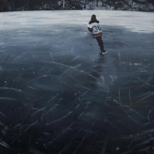 Jennifer Walton, Black Ice 2, Sports, Landscapes: Winter, Contemporary Art, Expressionism