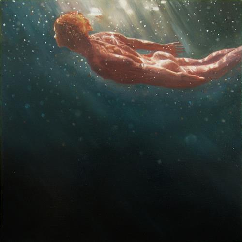 Jennifer Walton, Dark Water Swim 4, People: Men, Erotic motifs: Male nudes, Contemporary Art, Abstract Expressionism