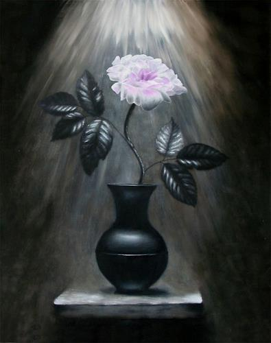 Vladimira Knüsel, Rose im Licht, Still life, Plants: Flowers, Romanticism