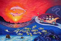 Natalia-Malinko-Landscapes-Sea-Ocean-People-Families-Contemporary-Art-Post-Surrealism