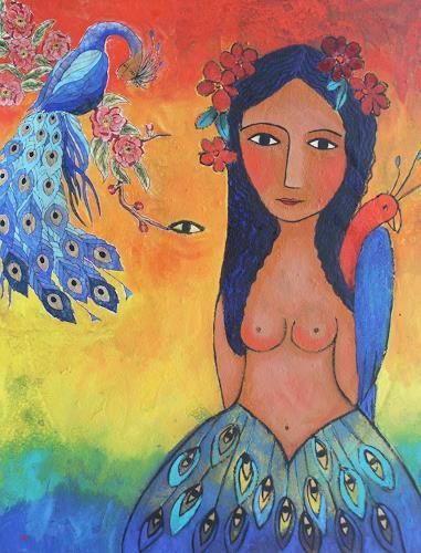 Helga Hornung, Paradiesisch, Fantasy, Decorative Art, New Image Painting
