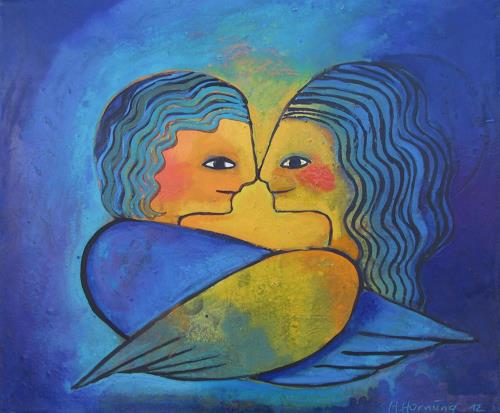 Helga Hornung, Engel der Glückseligkeit, Fantasy, Primitive Art/Naive Art