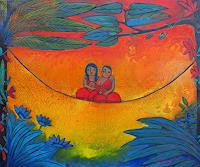 Helga-Hornung-Fantasy-People-Families-Modern-Age-Primitive-Art-Naive-Art