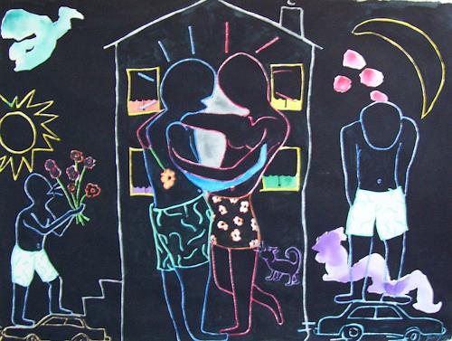 Erik Slutsky, Bel Ange And The Girl From Plessiville, People: Couples, Emotions: Love, Postmodernism, Abstract Expressionism