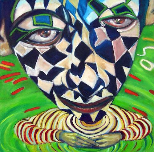 jonathan franklin, Wishing Well, People: Faces, Carnival, Neo-Expressionism, Abstract Expressionism