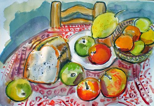 Jean-Pierre CHEVASSUS-AGNES, table fruits bread, Plants: Fruits, Poetry, Naturalism, Modern Age