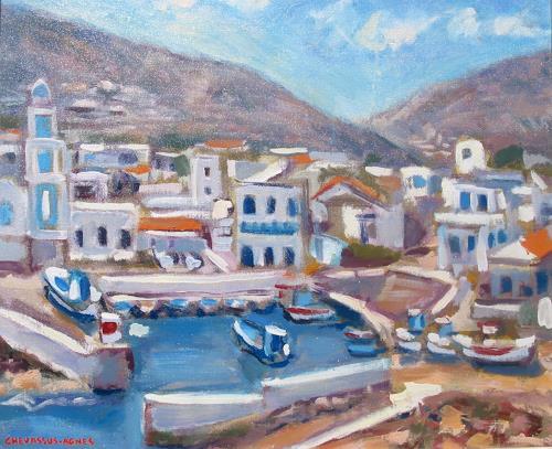 Jean-Pierre CHEVASSUS-AGNES, KOS IN EGEAN SEA GREECE, Landscapes: Sea/Ocean, Architecture, Contemporary Art, Expressionism