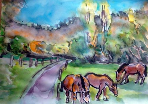 Jean-Pierre CHEVASSUS-AGNES, HORSES IN PILAT MOUNTAIN 42 FRANCE, Landscapes: Autumn, Animals: Land, Modern Times
