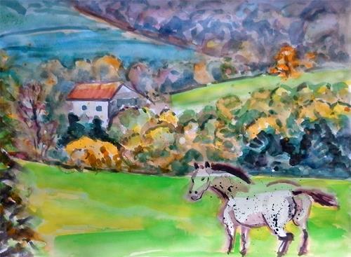 Jean-Pierre CHEVASSUS-AGNES, HORSE IN MOUNTAIN, Landscapes: Autumn, Landscapes: Mountains, Modern Times