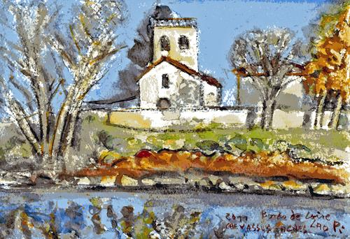 Jean-Pierre CHEVASSUS-AGNES, LOIRE RIVER SIDE NEAR SAINT ETIENNE, Landscapes: Autumn, Buildings: Churches, Modern Times