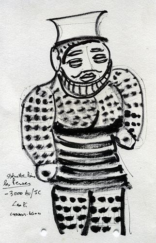 Jean-Pierre CHEVASSUS-AGNES, PERSE STATUETTE, Mythology, People: Men, Primitive Art/Naive Art