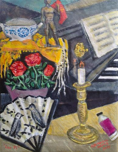 Jean-Pierre CHEVASSUS-AGNES, COMPOSITION  CHANDELIER EVANTAIL PIANO  ROSES ET STATUE BRONZE, Symbol, Symbol, Symbolism