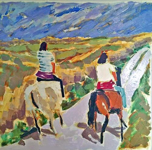 Jean-Pierre CHEVASSUS-AGNES, CAVALIERS  EN   BRETAGNE, People: Couples, Symbol, Modern Age, Expressionism