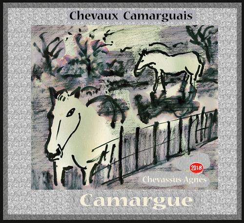 Jean-Pierre CHEVASSUS-AGNES, CAMARGUE  HORSES, Animals: Land, Parties/Celebrations, Expressive Realism