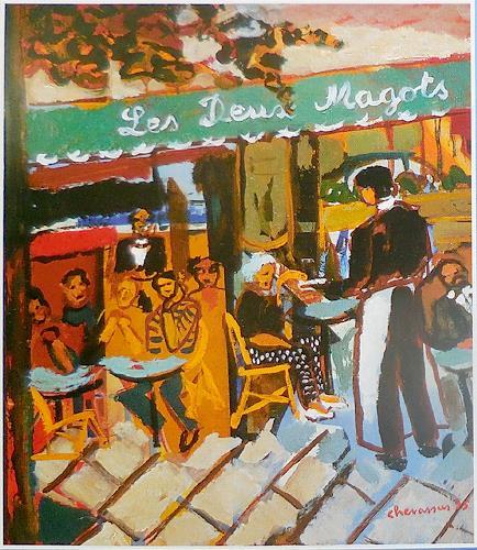 Jean-Pierre CHEVASSUS-AGNES, les 2 magots, Miscellaneous Romantic motifs, Miscellaneous People, Expressive Realism
