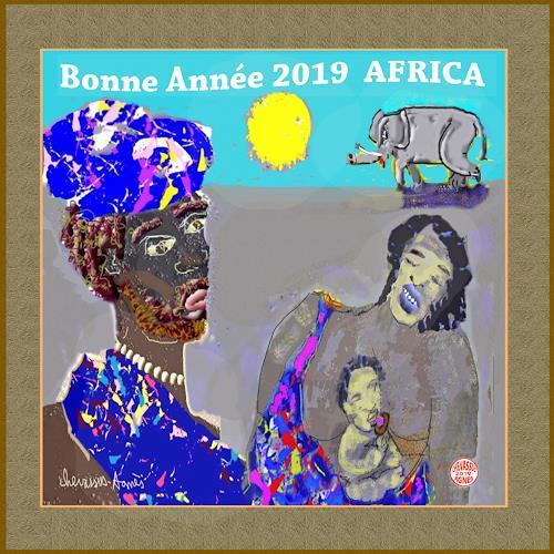 Jean-Pierre CHEVASSUS-AGNES, GUTEN  YAHRE  2019  AFRICA, People: Families, Animals: Land, Contemporary Art