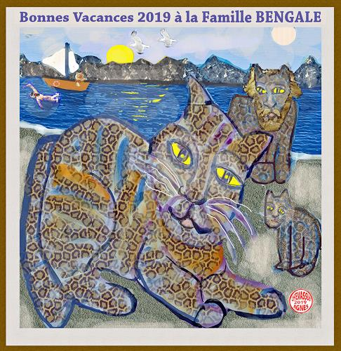 Jean-Pierre CHEVASSUS-AGNES, GUTEN  YAHRE  2019  with cats bengale, Emotions: Love, Animals: Land, Contemporary Art