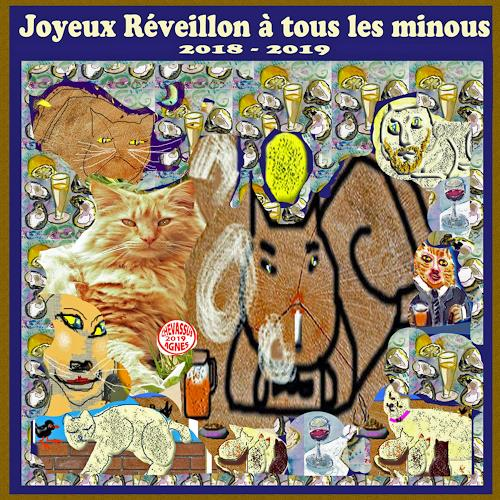 Jean-Pierre CHEVASSUS-AGNES, GUTEN  YAHRE  2019 WITH CATS, Parties/Celebrations, Animals: Land, Contemporary Art
