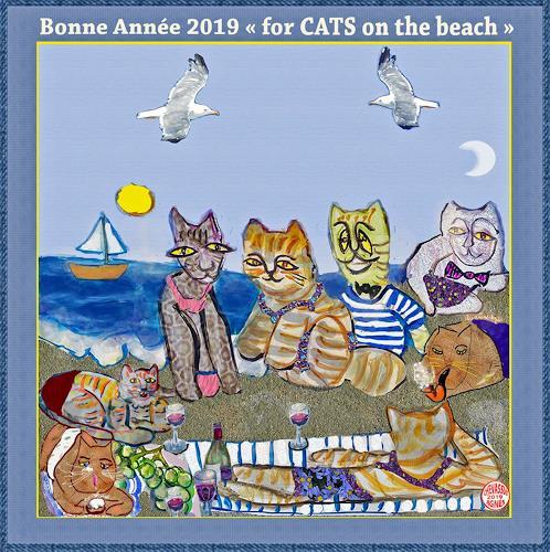 Jean-Pierre CHEVASSUS-AGNES, GUTEN  YAHRE  2019 cats on beach, Parties/Celebrations, Emotions: Love, Contemporary Art