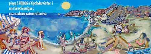 Jean-Pierre CHEVASSUS-AGNES, MILOS BEACH, Landscapes: Beaches, Miscellaneous People, Art Déco