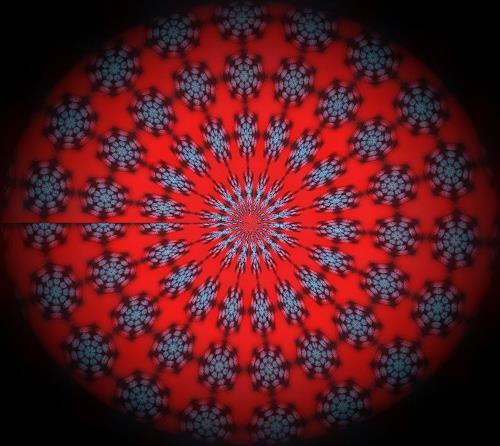 Evelin König, Blaue Blüten auf rotem Grund, Decorative Art