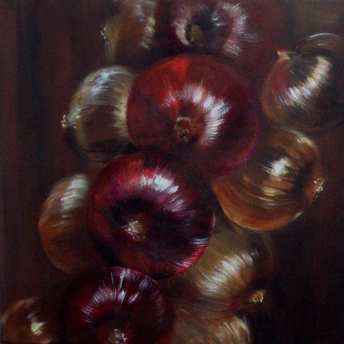 Carmen Heidi Kroese, Zwiebelzopf, Meal, Still life, Contemporary Art, Expressionism