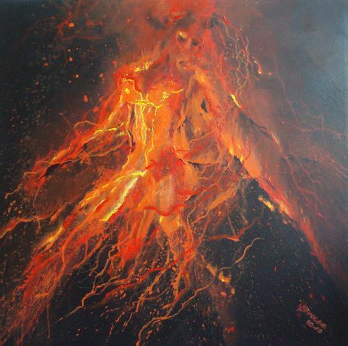 Carmen Kroese, Vulkanausbruch-Die Geburt Evas-Eruption der Gefühle, Erotic motifs: Female nudes, Nature: Fire, Contemporary Art, Abstract Expressionism