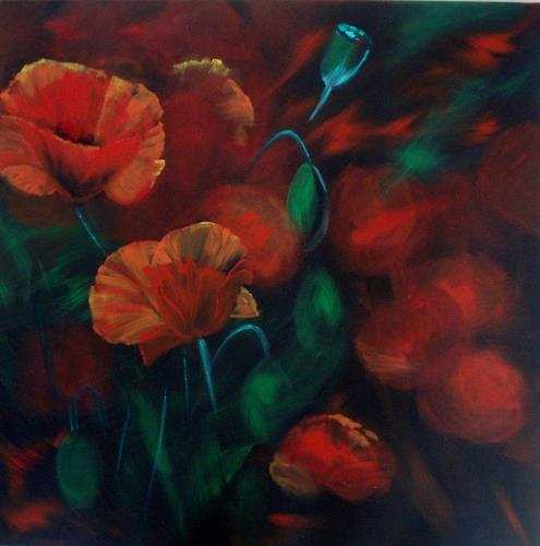 Carmen Kroese, Feuerblumen, Plants: Flowers, Nature: Earth, Contemporary Art, Expressionism