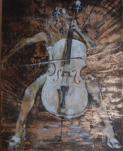 Carmen Heidi Kroese, White Cello, People: Women, Music: Instruments, Contemporary Art, Expressionism