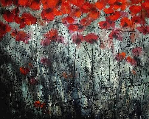 Carmen Kroese, Coquelicot, Nature: Earth, Plants: Flowers, Contemporary Art, Abstract Expressionism