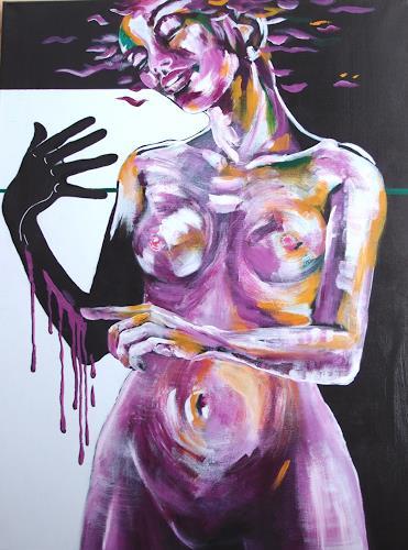 Carmen Heidi Kroese, Die Malerin II, Erotic motifs: Female nudes, People: Women, Contemporary Art, Abstract Expressionism