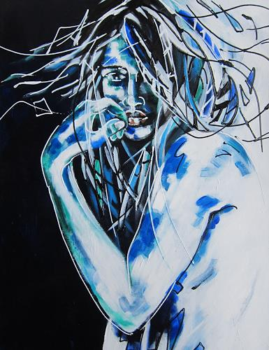 Carmen Heidi Kroese, unsicher, People: Women, Emotions, Contemporary Art, Abstract Expressionism