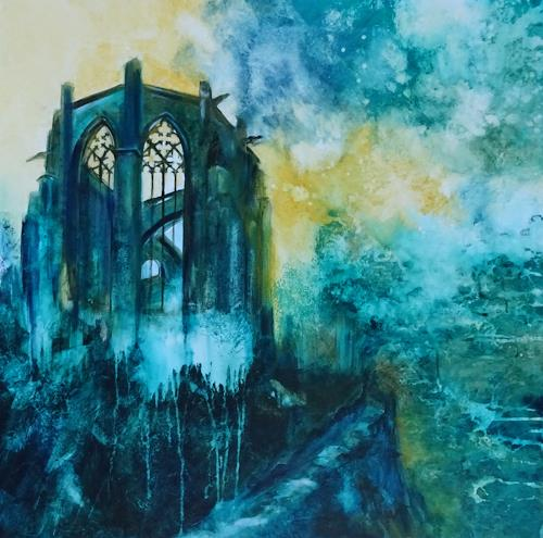 Carmen Heidi Kroese, Mahnmal in Bacharach, Abstract art, Buildings: Churches, Expressive Realism, Abstract Expressionism