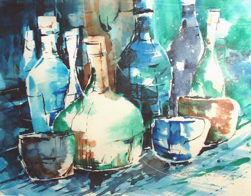 Carmen Kroese, Flaschenstillleben blau, Still life, Parties/Celebrations, Modern Age, Expressionism