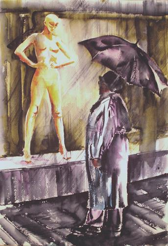 Carmen Heidi Kroese, Dialog im Regen, People: Group, Miscellaneous Emotions, Contemporary Art, Abstract Expressionism